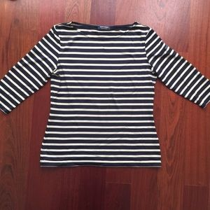 St. James Striped Lycra Top - Cream & Navy